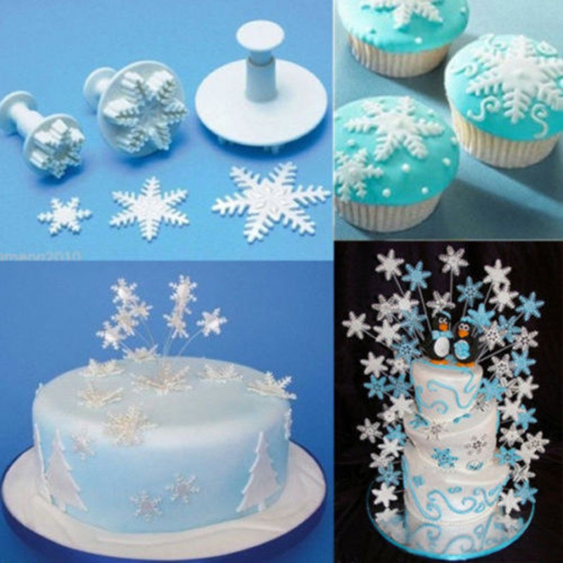 Christmas Cake Decoration Molds : TripleClicks.com: Set Snowflake Fondant Cake Decorating ...