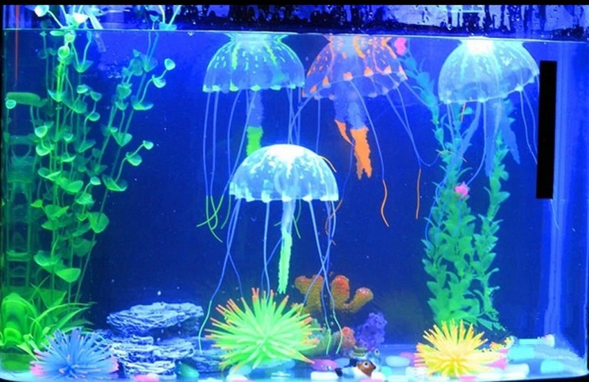 Glowing effect fish tank decor aquarium for How to decorate a fish tank with household items