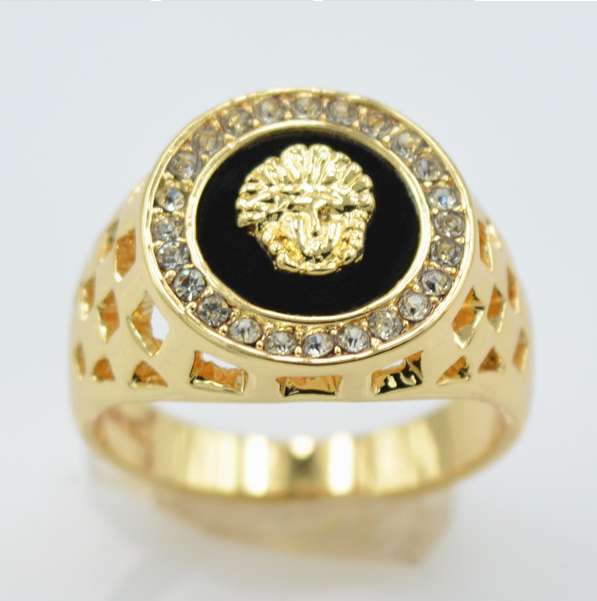 Triple s CZ diamond Versace mens rings gold filled