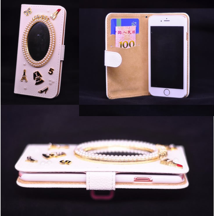 Luxury mirror bling diamond flip cover for Coque iphone 5 miroir